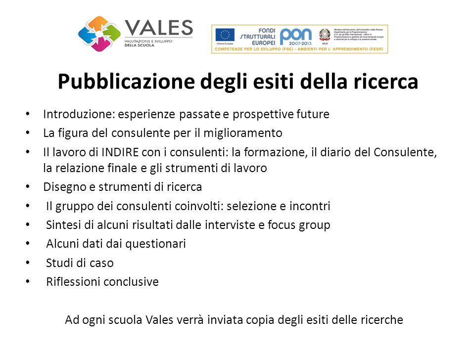 Pubblicazione degli esiti della ricerca Introduzione: esperienze passate e prospettive future La figura del consulente per il miglioramento Il lavoro