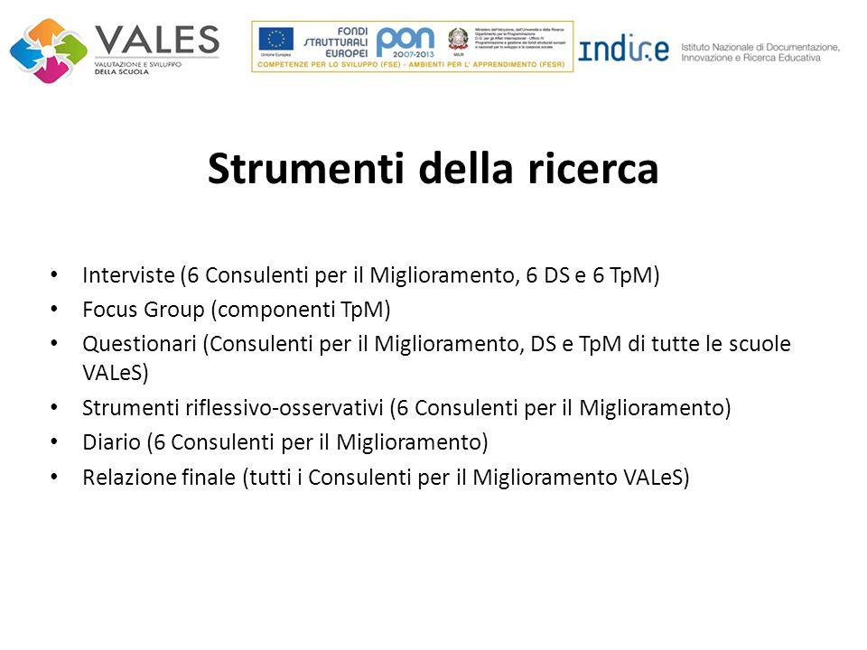 Strumenti della ricerca Interviste (6 Consulenti per il Miglioramento, 6 DS e 6 TpM) Focus Group (componenti TpM) Questionari (Consulenti per il Migli