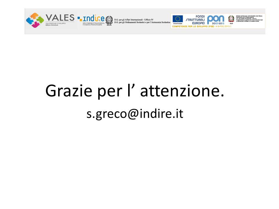 Grazie per l' attenzione. s.greco@indire.it