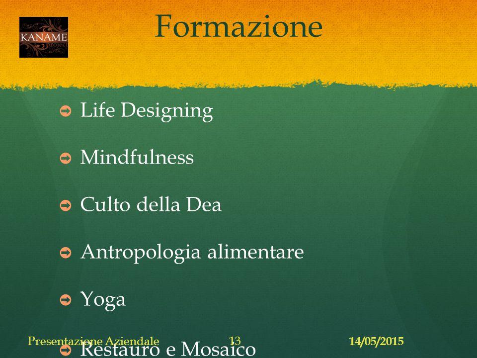 Formazione ➲ Life Designing ➲ Mindfulness ➲ Culto della Dea ➲ Antropologia alimentare ➲ Yoga ➲ Restauro e Mosaico 14/05/2015 Presentazione Aziendale13