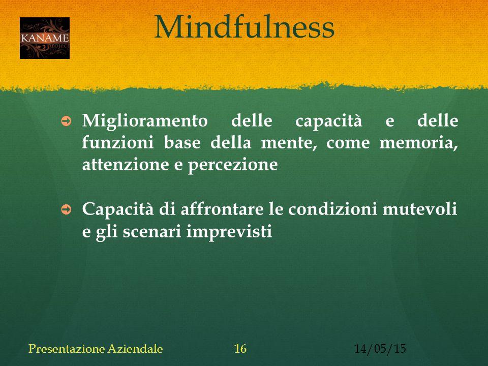 Mindfulness ➲ Miglioramento delle capacità e delle funzioni base della mente, come memoria, attenzione e percezione ➲ Capacità di affrontare le condizioni mutevoli e gli scenari imprevisti 14/05/15Presentazione Aziendale16