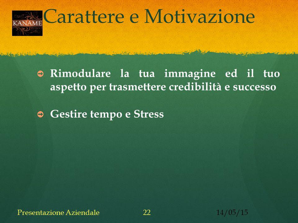 Carattere e Motivazione ➲ Rimodulare la tua immagine ed il tuo aspetto per trasmettere credibilità e successo ➲ Gestire tempo e Stress 14/05/15Presentazione Aziendale22
