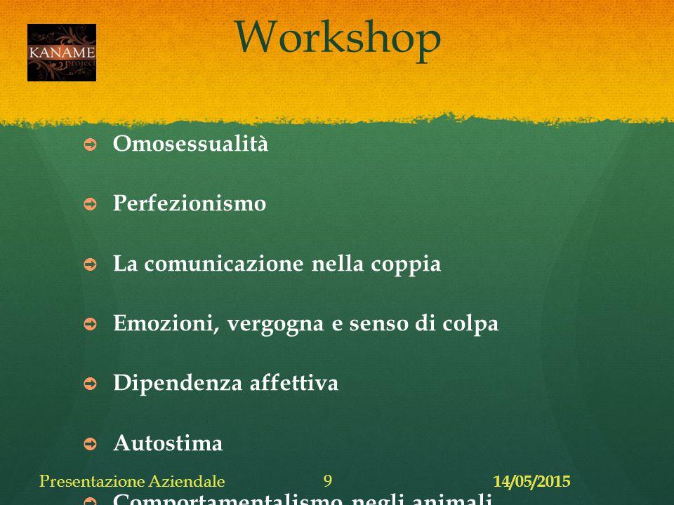 Workshop ➲ Omosessualità ➲ Perfezionismo ➲ La comunicazione nella coppia ➲ Emozioni, vergogna e senso di colpa ➲ Dipendenza affettiva ➲ Autostima ➲ Comportamentalismo negli animali 14/05/2015 Presentazione Aziendale9