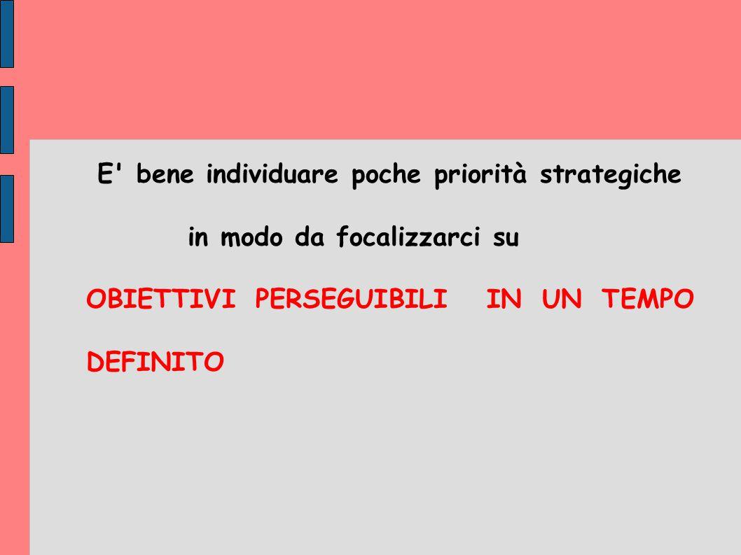 E' bene individuare poche priorità strategiche in modo da focalizzarci su OBIETTIVI PERSEGUIBILI IN UN TEMPO DEFINITO
