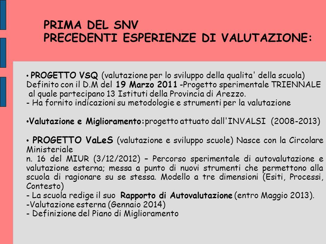 PRIMA DEL SNV PRECEDENTI ESPERIENZE DI VALUTAZIONE: PROGETTO VSQ (valutazione per lo sviluppo della qualita' della scuola) Definito con il D.M del 19