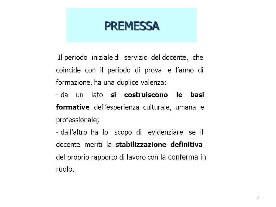 PREMESSA Il periodo iniziale di servizio del docente, che coincide con il periodo di prova e l'anno di formazione, ha una duplice valenza: - daunlatos