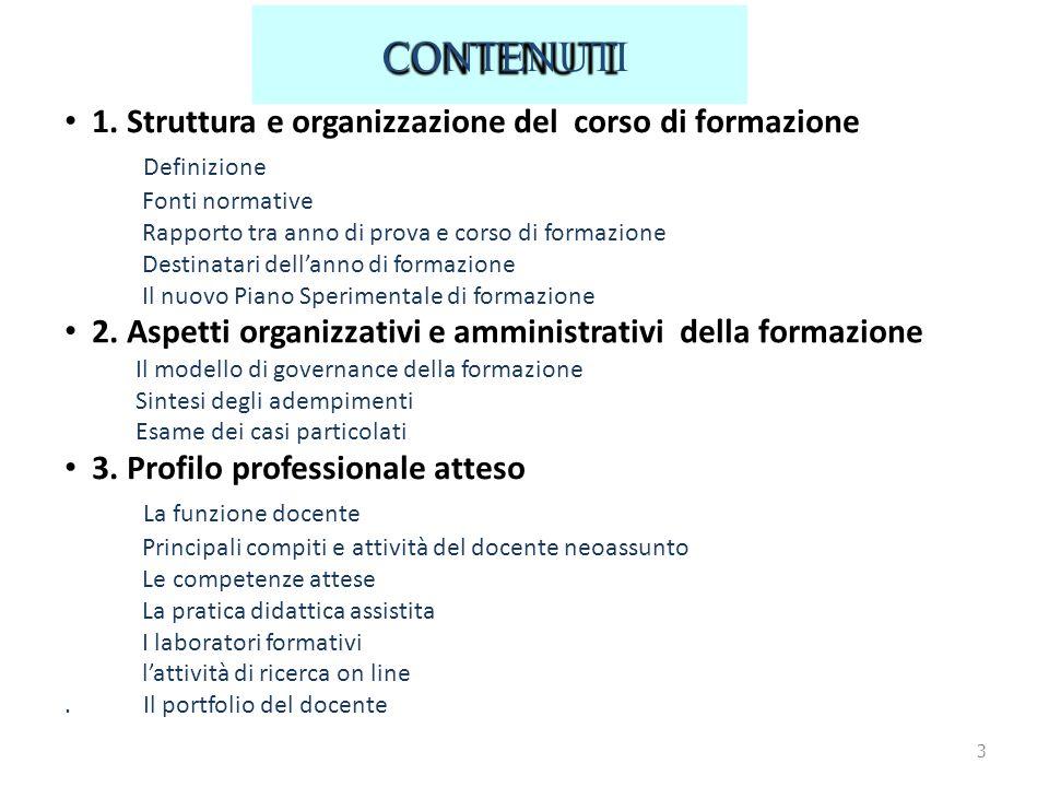 CONTENUTI 1. Struttura e organizzazione del corso di formazione Definizione Fonti normative Rapporto tra anno di prova e corso di formazione Destinata