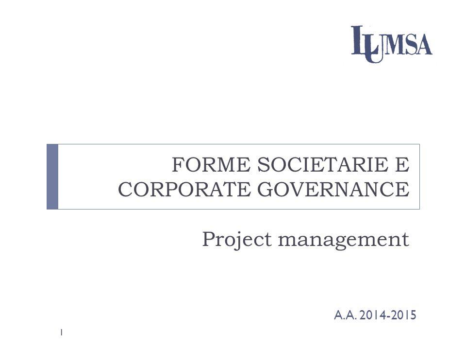 Le cinque aree del modello di project management Project Management Institute (PMI) cinque aree di processo e nove aree di conoscenza gestionale Le cinque aree di processo, costituiscono il flusso dell'intera gestione del progetto con un inizio e una fine Le aree vengono identificate come segue: 1.