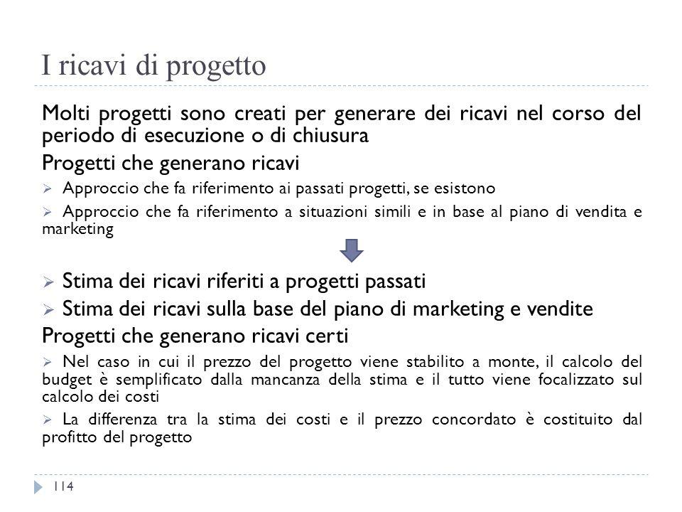 I ricavi di progetto Molti progetti sono creati per generare dei ricavi nel corso del periodo di esecuzione o di chiusura Progetti che generano ricavi