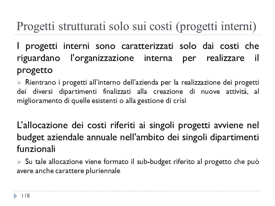 Progetti strutturati solo sui costi (progetti interni) I progetti interni sono caratterizzati solo dai costi che riguardano l'organizzazione interna p