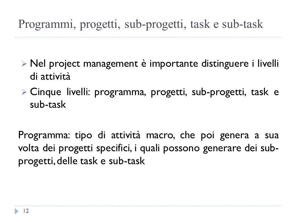 Programmi, progetti, sub-progetti, task e sub-task  Nel project management è importante distinguere i livelli di attività  Cinque livelli: programma