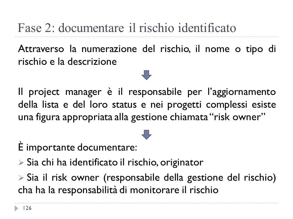 Fase 2: documentare il rischio identificato Attraverso la numerazione del rischio, il nome o tipo di rischio e la descrizione Il project manager è il