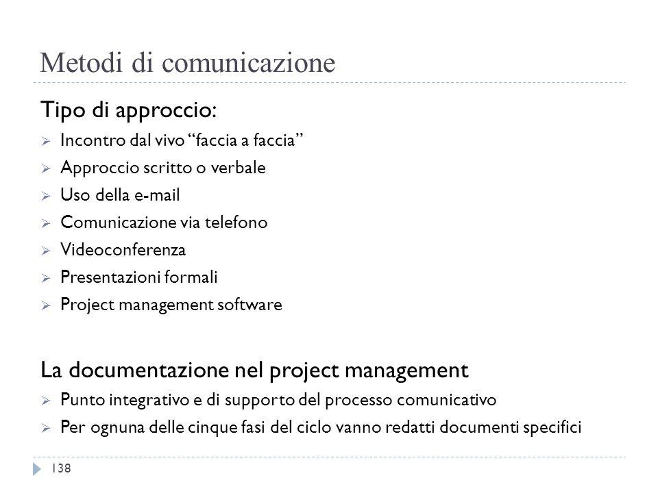 """Metodi di comunicazione Tipo di approccio:  Incontro dal vivo """"faccia a faccia""""  Approccio scritto o verbale  Uso della e-mail  Comunicazione via"""