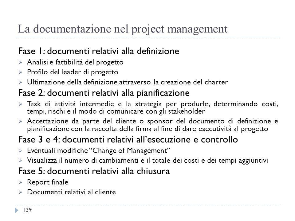 La documentazione nel project management Fase 1: documenti relativi alla definizione  Analisi e fattibilità del progetto  Profilo del leader di prog