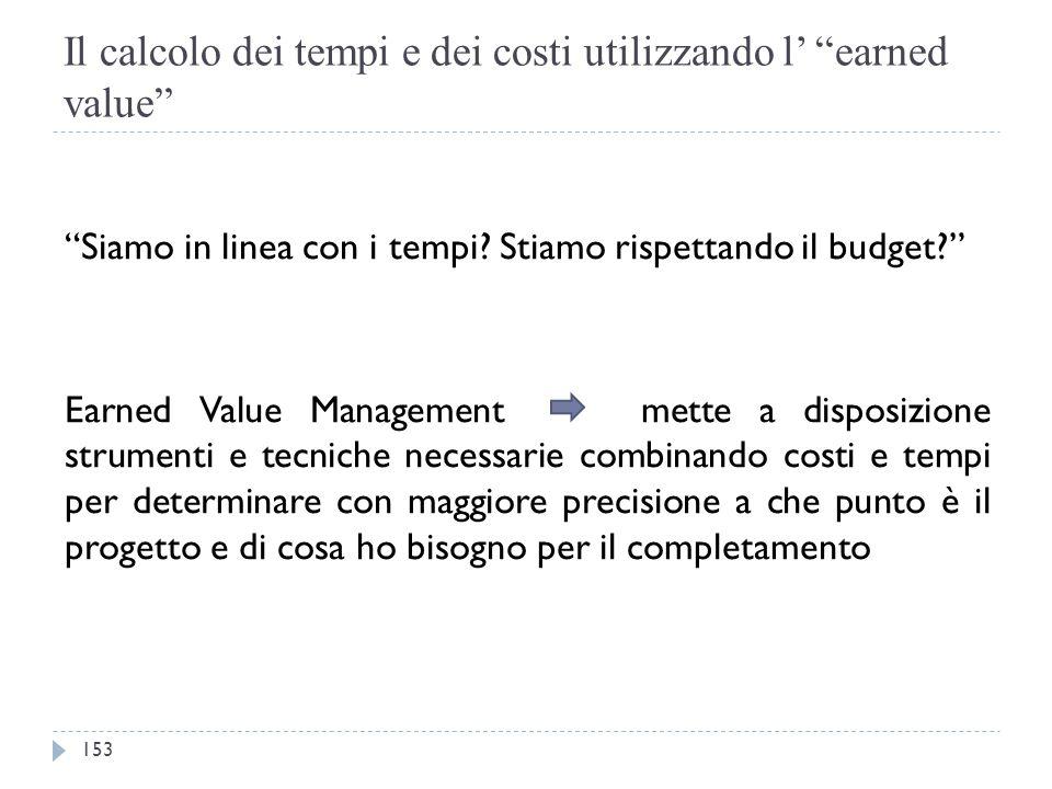 """Il calcolo dei tempi e dei costi utilizzando l' """"earned value"""" """"Siamo in linea con i tempi? Stiamo rispettando il budget?"""" Earned Value Management met"""