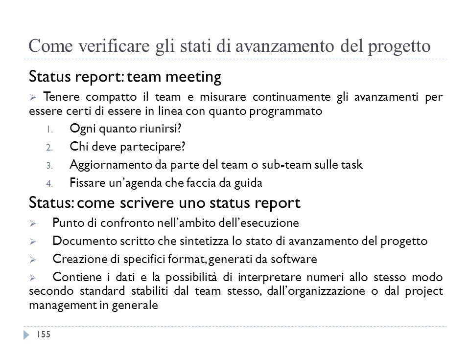 Come verificare gli stati di avanzamento del progetto Status report: team meeting  Tenere compatto il team e misurare continuamente gli avanzamenti p