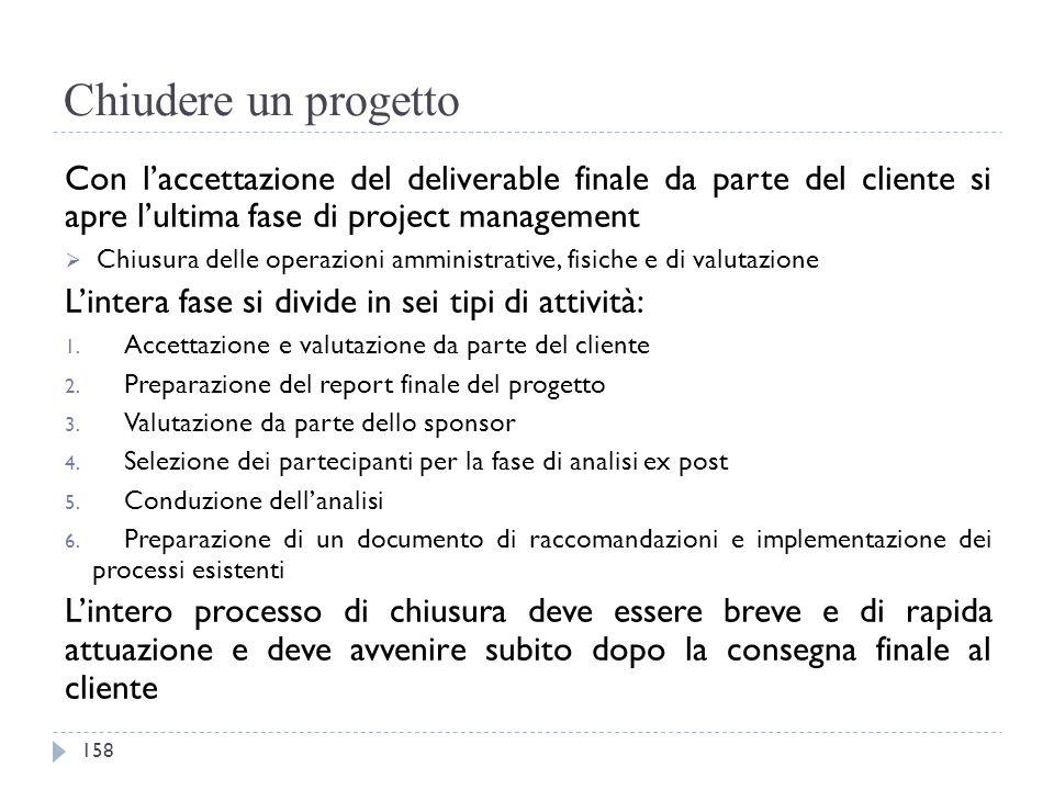 Chiudere un progetto Con l'accettazione del deliverable finale da parte del cliente si apre l'ultima fase di project management  Chiusura delle opera