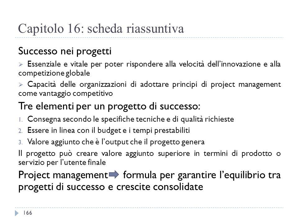 Capitolo 16: scheda riassuntiva Successo nei progetti  Essenziale e vitale per poter rispondere alla velocità dell'innovazione e alla competizione gl