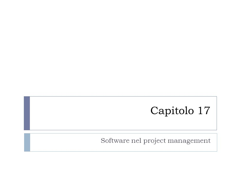 Capitolo 17 Software nel project management