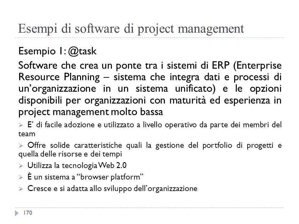Esempi di software di project management Esempio 1: @task Software che crea un ponte tra i sistemi di ERP (Enterprise Resource Planning – sistema che