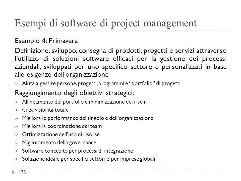Esempi di software di project management Esempio 4: Primavera Definizione, sviluppo, consegna di prodotti, progetti e servizi attraverso l'utilizzo di