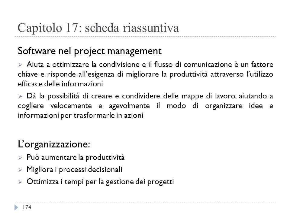 Capitolo 17: scheda riassuntiva Software nel project management  Aiuta a ottimizzare la condivisione e il flusso di comunicazione è un fattore chiave