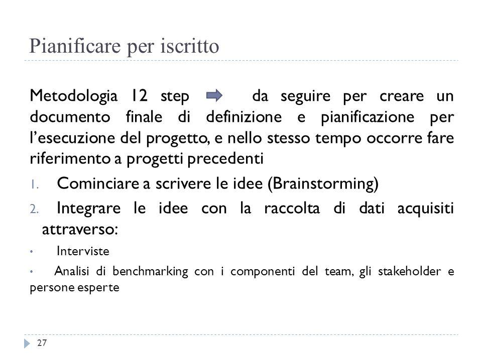 Pianificare per iscritto Metodologia 12 step da seguire per creare un documento finale di definizione e pianificazione per l'esecuzione del progetto,