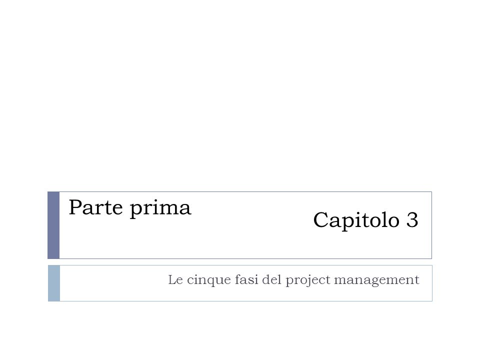 Capitolo 3 Le cinque fasi del project management Parte prima