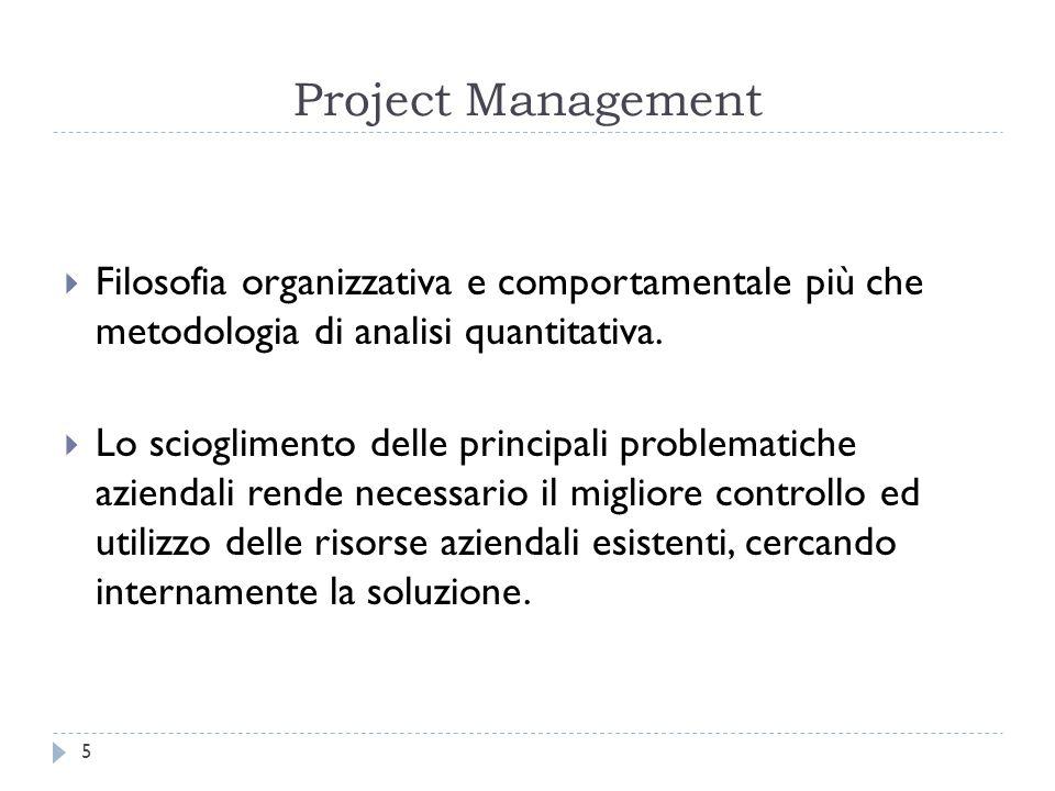 Project Management  Filosofia organizzativa e comportamentale più che metodologia di analisi quantitativa.  Lo scioglimento delle principali problem