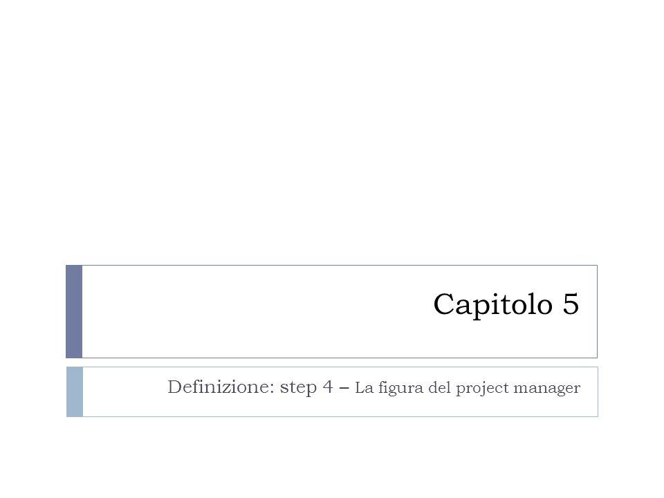 Capitolo 5 Definizione: step 4 – La figura del project manager