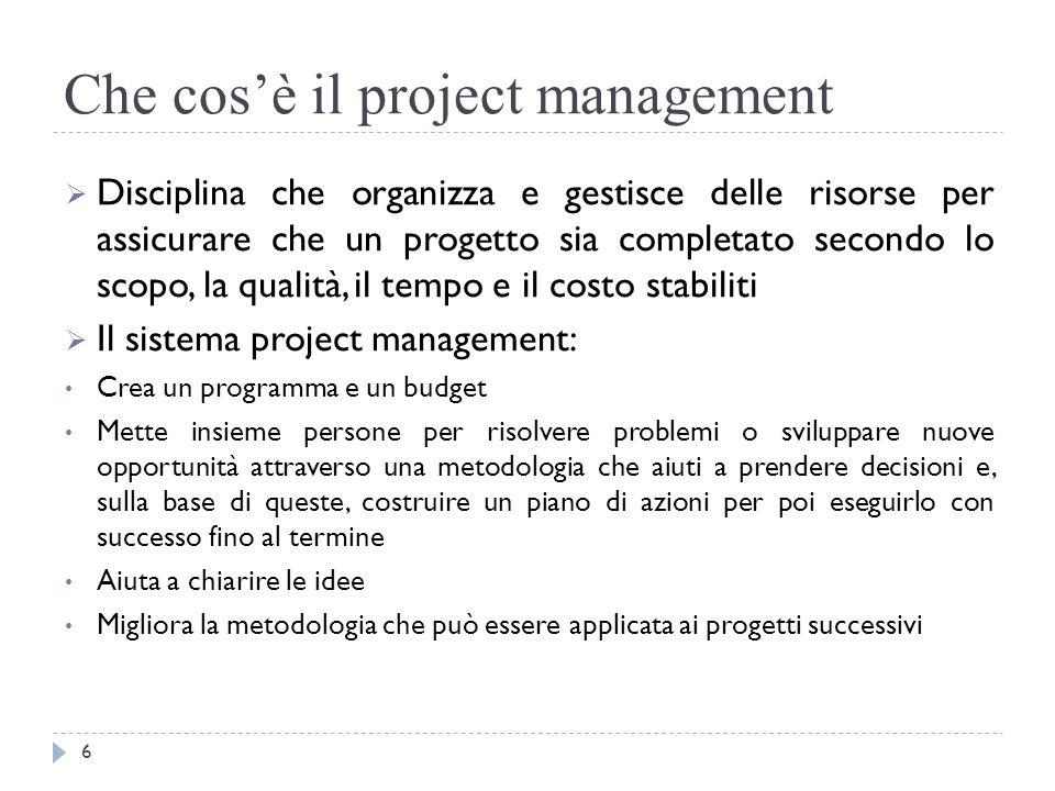 Che cos'è il project management  Disciplina che organizza e gestisce delle risorse per assicurare che un progetto sia completato secondo lo scopo, la
