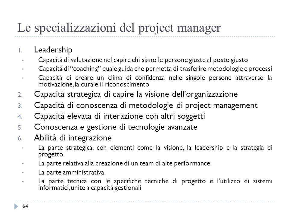 """Le specializzazioni del project manager 1. Leadership Capacità di valutazione nel capire chi siano le persone giuste al posto giusto Capacità di """"coac"""