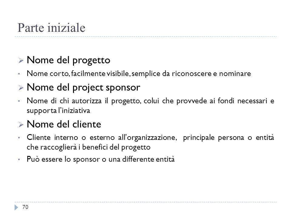 Parte iniziale  Nome del progetto Nome corto, facilmente visibile, semplice da riconoscere e nominare  Nome del project sponsor Nome di chi autorizz