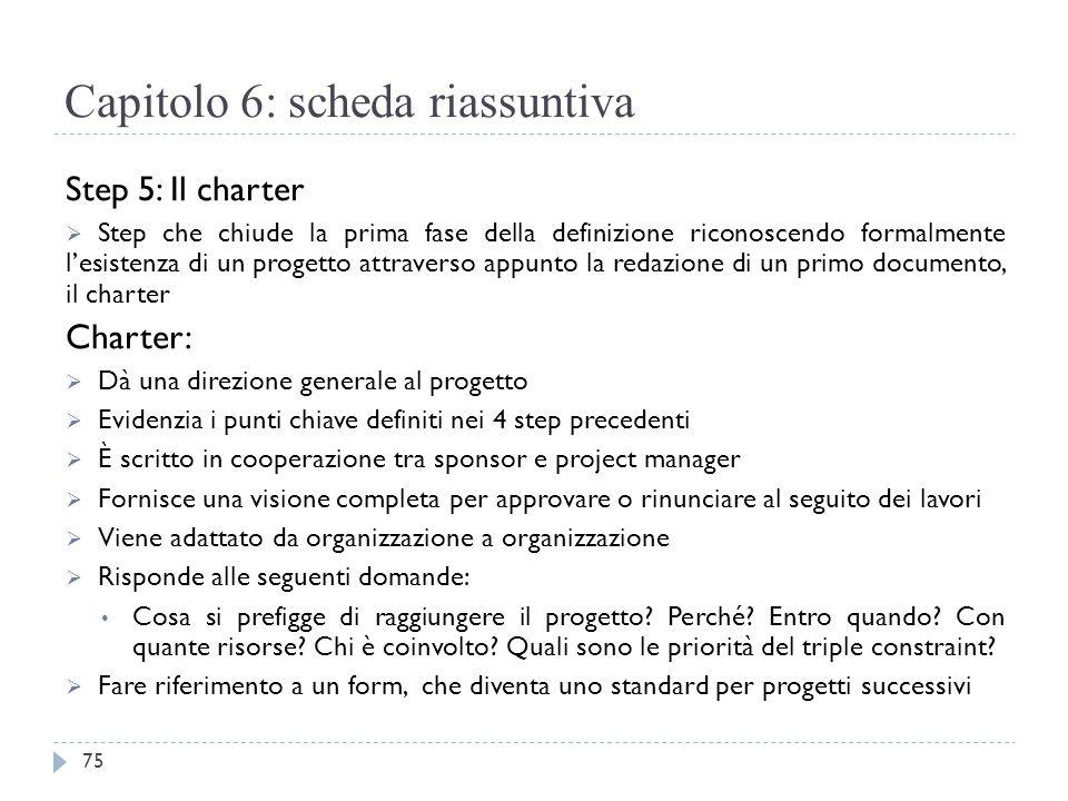 Capitolo 6: scheda riassuntiva Step 5: Il charter  Step che chiude la prima fase della definizione riconoscendo formalmente l'esistenza di un progett