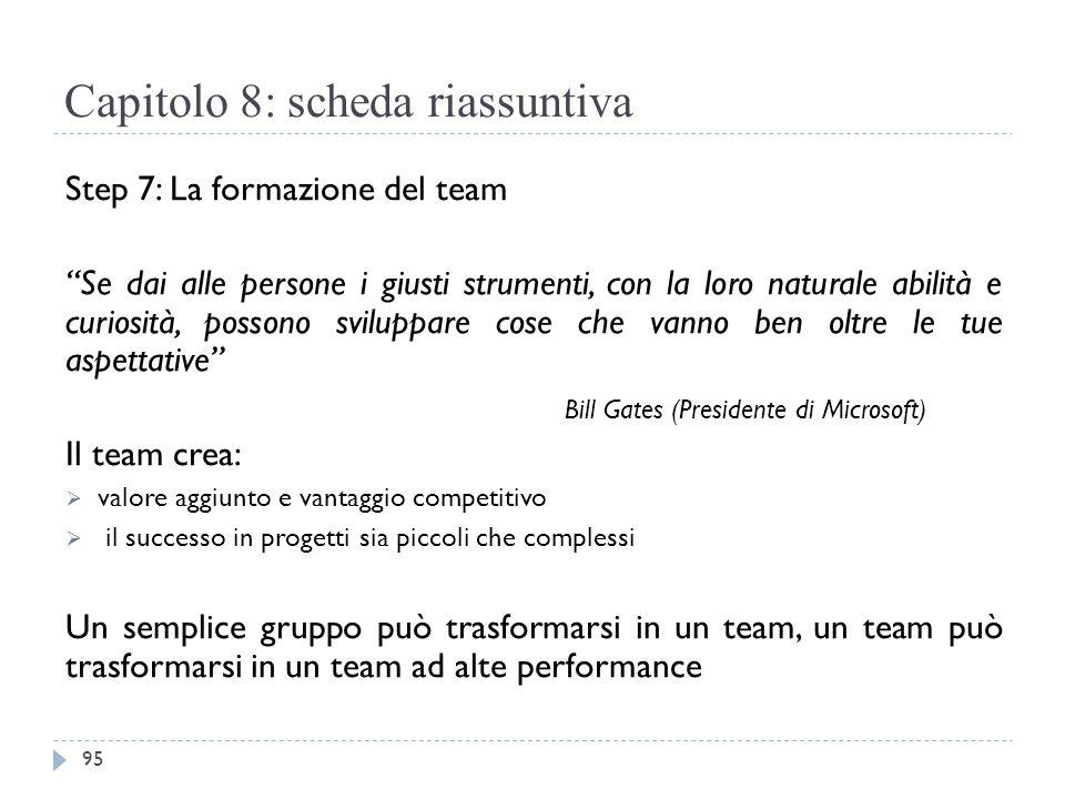 """Capitolo 8: scheda riassuntiva Step 7: La formazione del team """"Se dai alle persone i giusti strumenti, con la loro naturale abilità e curiosità, posso"""
