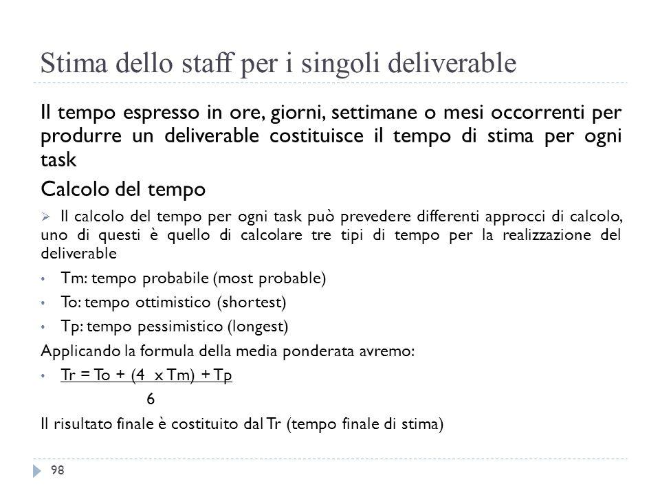 Stima dello staff per i singoli deliverable Il tempo espresso in ore, giorni, settimane o mesi occorrenti per produrre un deliverable costituisce il t
