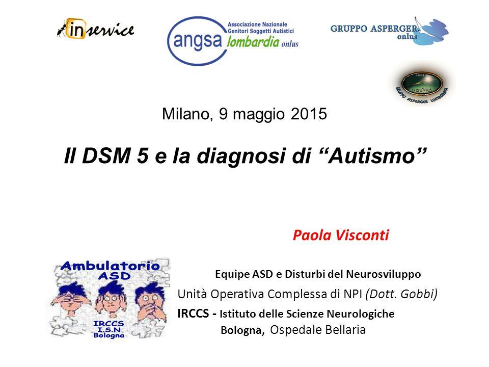 """Milano, 9 maggio 2015 Il DSM 5 e la diagnosi di """"Autismo"""" Paola Visconti Equipe ASD e Disturbi del Neurosviluppo Unità Operativa Complessa di NPI (Dot"""