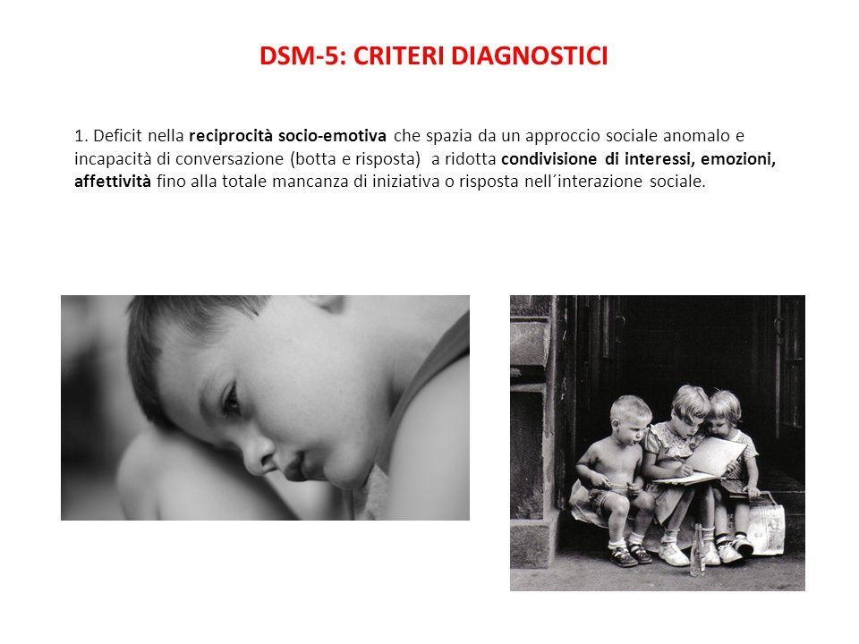 DSM-5: CRITERI DIAGNOSTICI 1. Deficit nella reciprocità socio-emotiva che spazia da un approccio sociale anomalo e incapacità di conversazione (botta