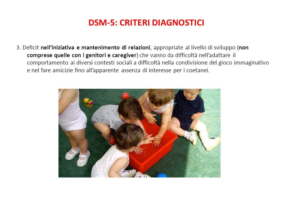 DSM-5: CRITERI DIAGNOSTICI 3. Deficit nell'iniziativa e mantenimento di relazioni, appropriate al livello di sviluppo (non comprese quelle con i genit
