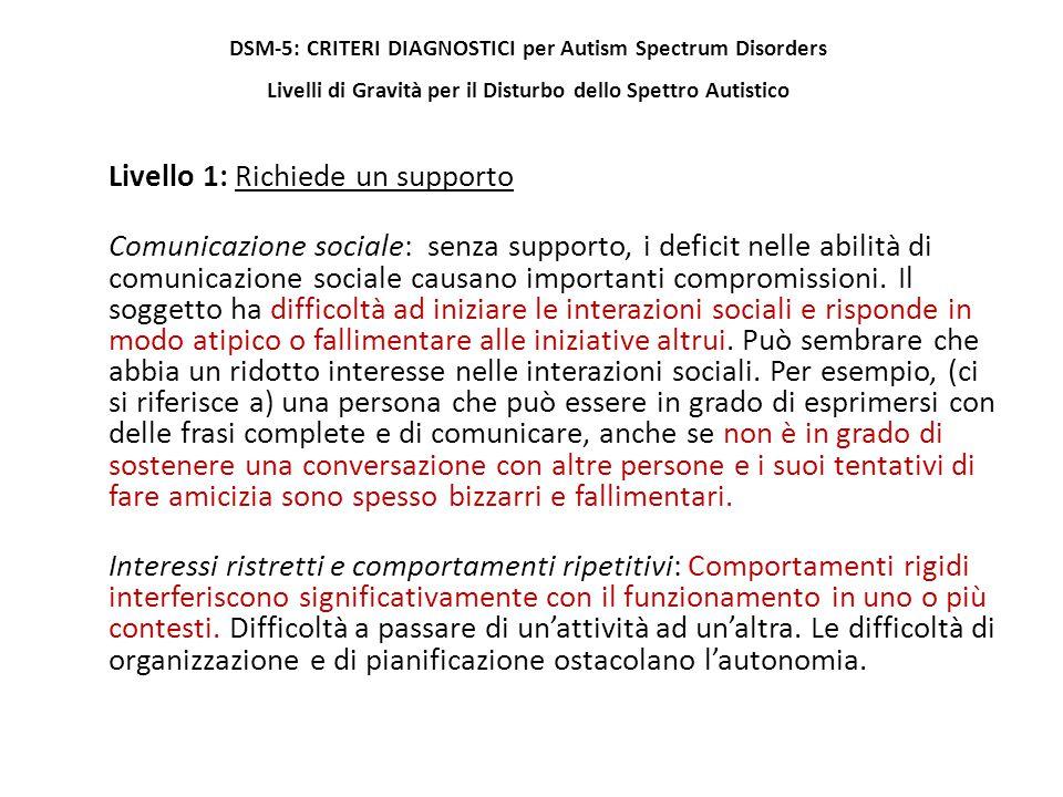 Livello 1: Richiede un supporto Comunicazione sociale: senza supporto, i deficit nelle abilità di comunicazione sociale causano importanti compromissi
