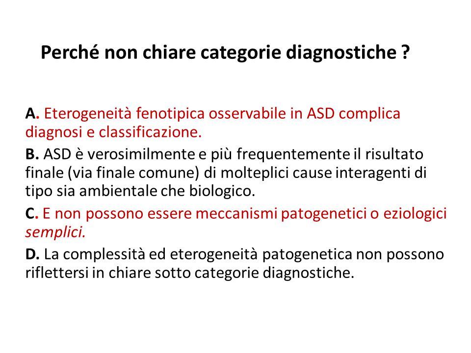 Perché non chiare categorie diagnostiche ? A. Eterogeneità fenotipica osservabile in ASD complica diagnosi e classificazione. B. ASD è verosimilmente