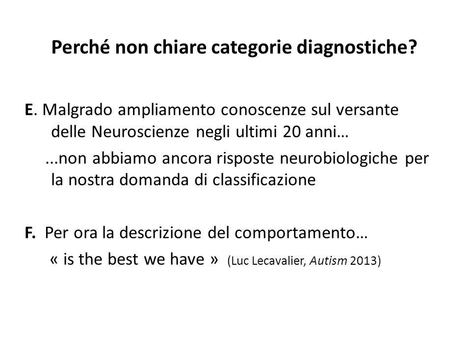 Perché non chiare categorie diagnostiche? E. Malgrado ampliamento conoscenze sul versante delle Neuroscienze negli ultimi 20 anni…...non abbiamo ancor