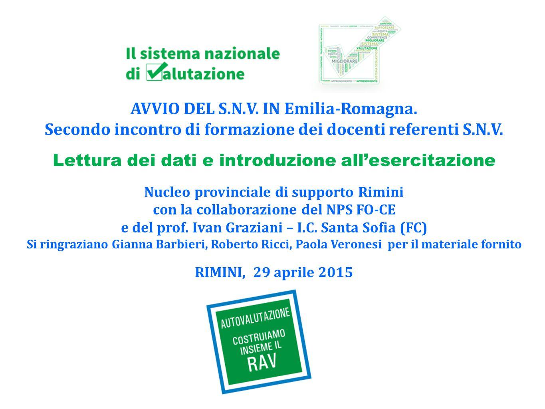 AVVIO DEL S.N.V.IN Emilia-Romagna. Secondo incontro di formazione dei docenti referenti S.N.V.