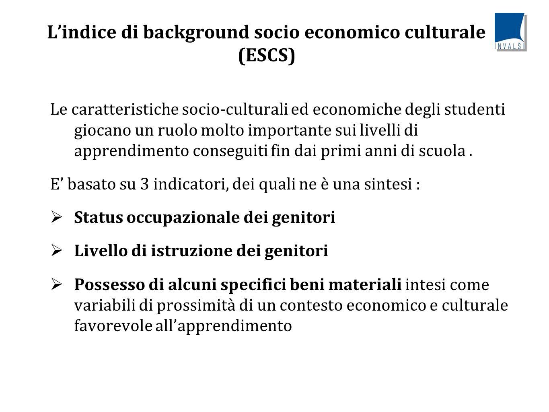 L'indice di background socio economico culturale (ESCS) Le caratteristiche socio-culturali ed economiche degli studenti giocano un ruolo molto importante sui livelli di apprendimento conseguiti fin dai primi anni di scuola.