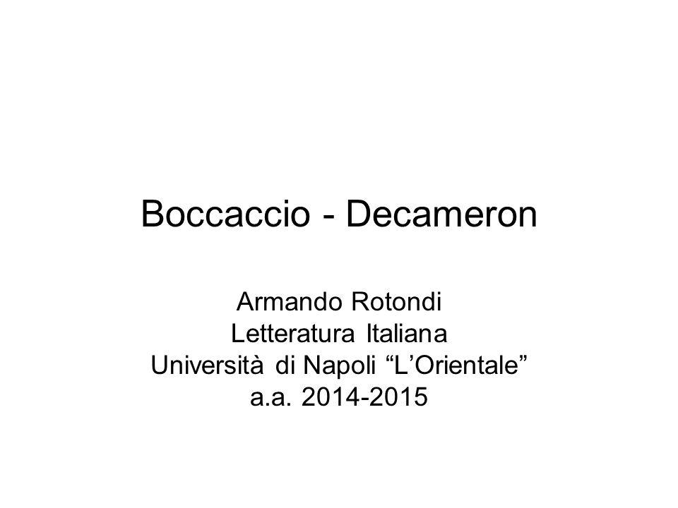 Boccaccio - Decameron La novella è una narrazione in prosa breve e semplice, più breve di un racconto, nella quale c è un unica vicenda semplice e in sé conclusa, colta nei suoi momenti essenziali, i cui personaggi si possono facilmente ritrovare nella vita quotidiana.
