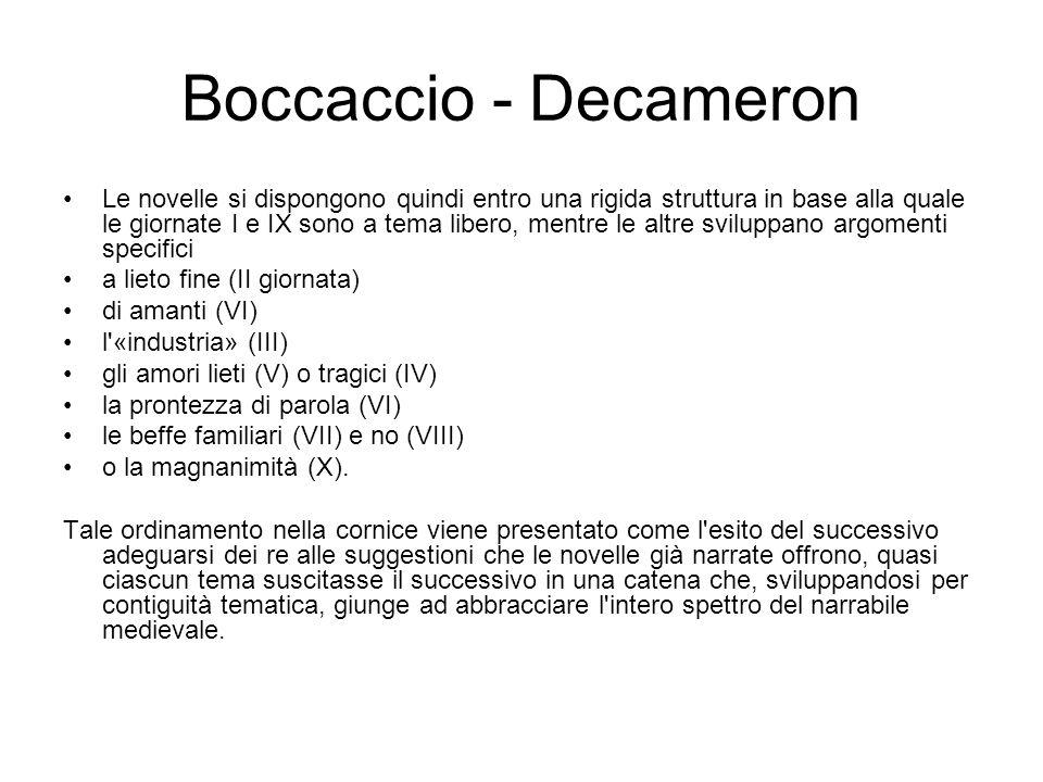Boccaccio - Decameron Le novelle si dispongono quindi entro una rigida struttura in base alla quale le giornate I e IX sono a tema libero, mentre le a