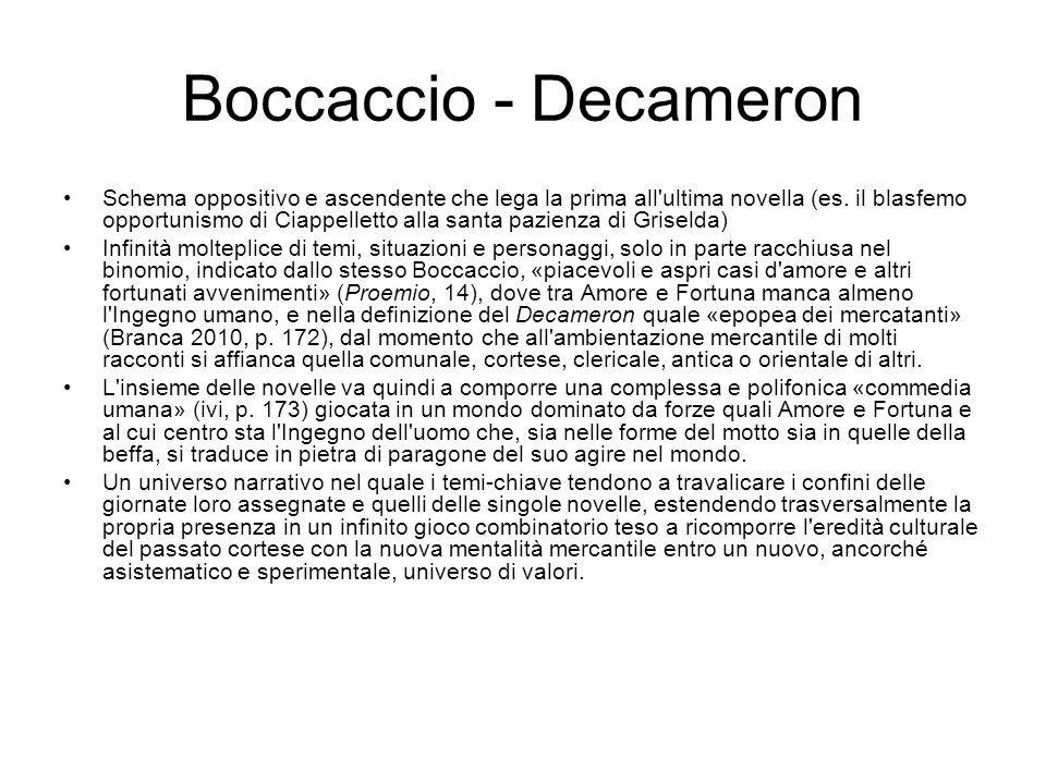 Boccaccio - Decameron Schema oppositivo e ascendente che lega la prima all'ultima novella (es. il blasfemo opportunismo di Ciappelletto alla santa paz