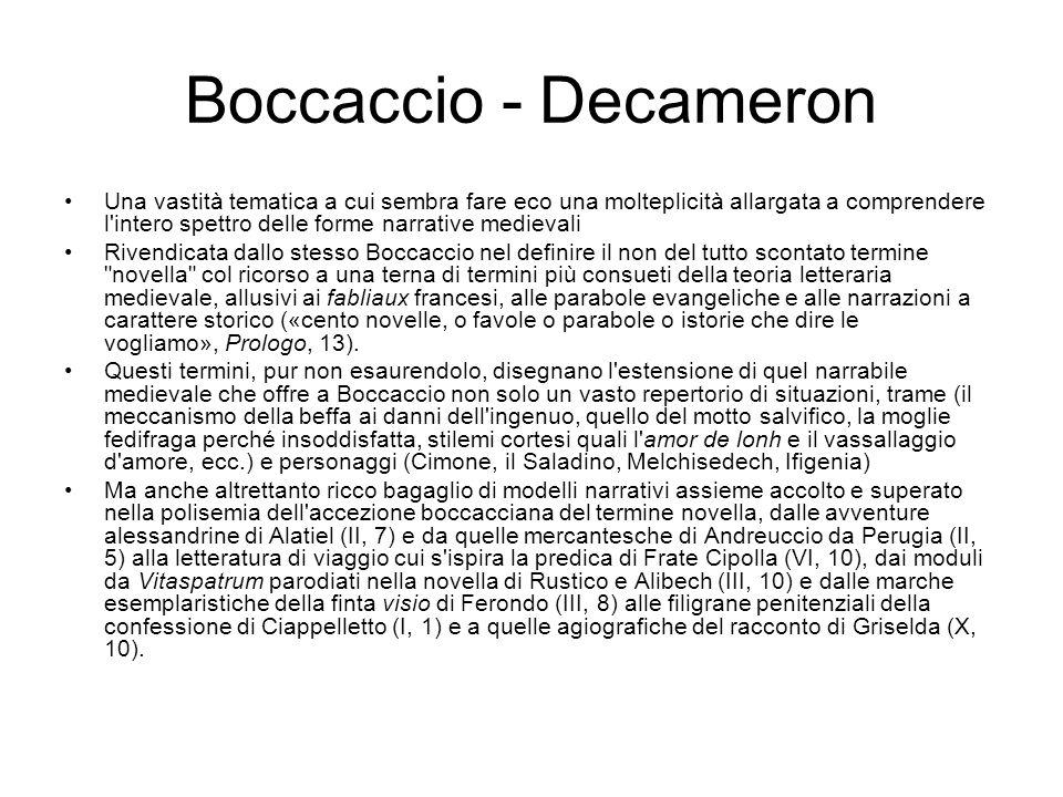 Boccaccio - Decameron Una vastità tematica a cui sembra fare eco una molteplicità allargata a comprendere l'intero spettro delle forme narrative medie