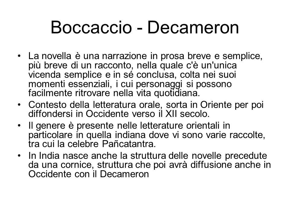 Boccaccio - Decameron La novella è una narrazione in prosa breve e semplice, più breve di un racconto, nella quale c'è un'unica vicenda semplice e in