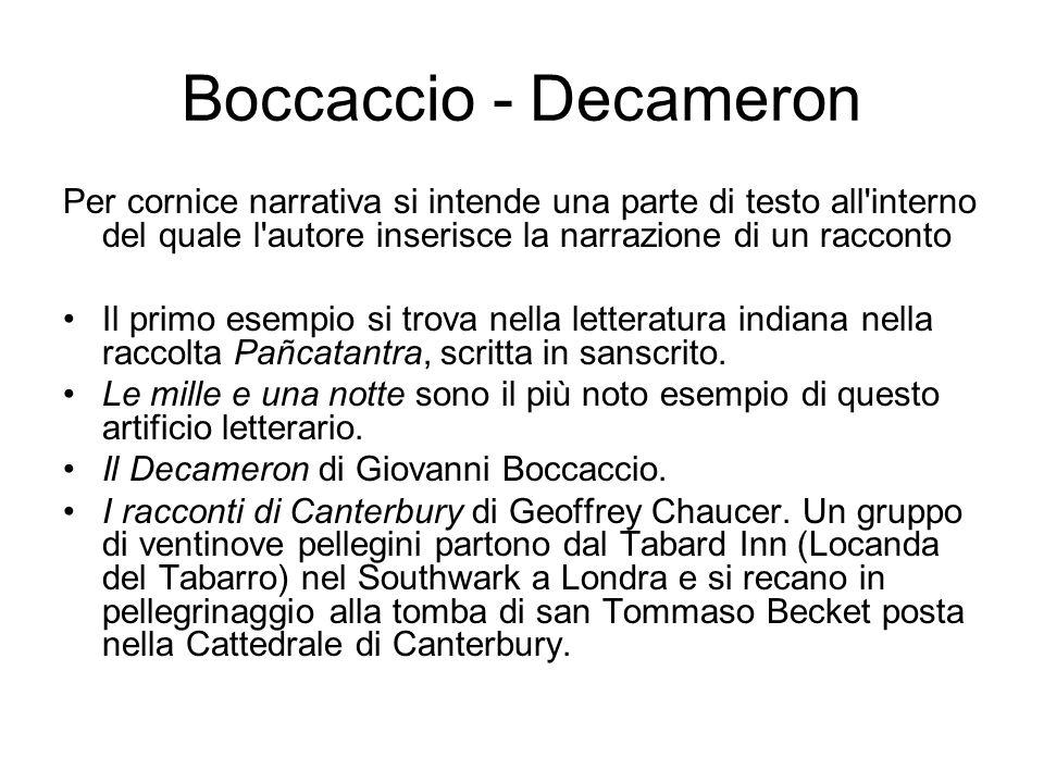Boccaccio - Decameron Per cornice narrativa si intende una parte di testo all'interno del quale l'autore inserisce la narrazione di un racconto Il pri